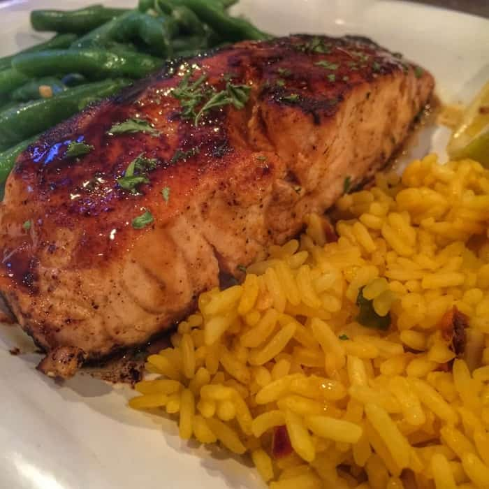 Salmon at The Oyster Pub Sports Bar & Grill in Daytona Beach, FL