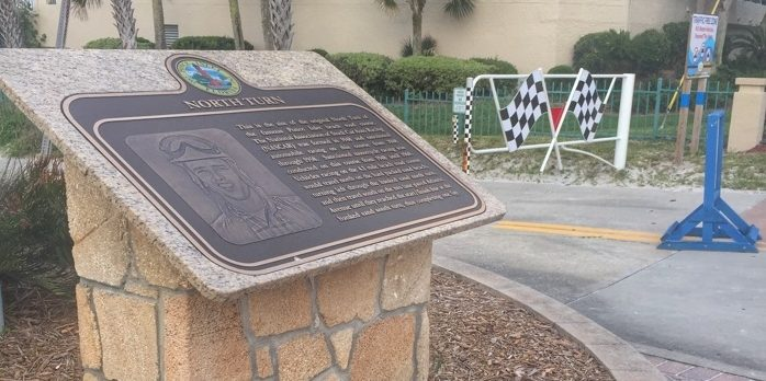 Historical marker & race start at Racing's North Turn Beach Bar & Grille in Daytona Beach, FL