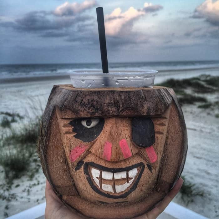 Drink served in coconut souvenir at Racing's North Turn Beach Bar & Grille in Daytona Beach, FL