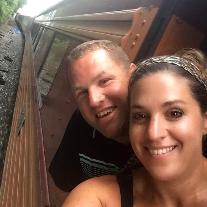 Adventure Mom Nedra McDaniel and husband on the Cincinnati Dinner Train