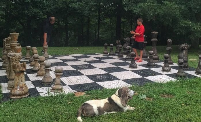 Playing chess at Sleeping Bear Retreat