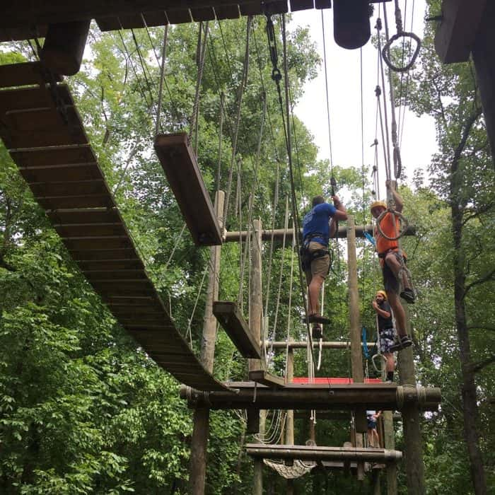 Rafting in the Smokies ropes course