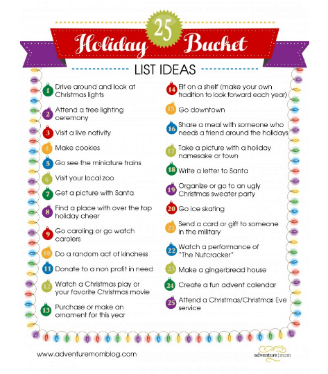 25 Holiday Bucket List Ideas ~ Free Printables