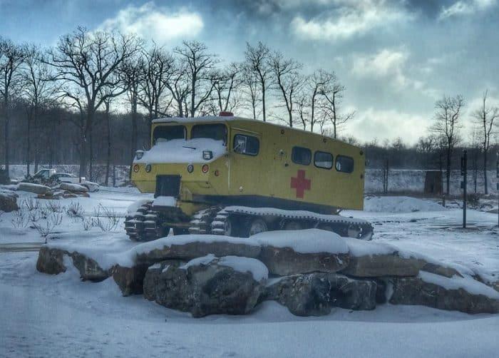 vintage medical snowcat at Laurel Mountain Ski Resort