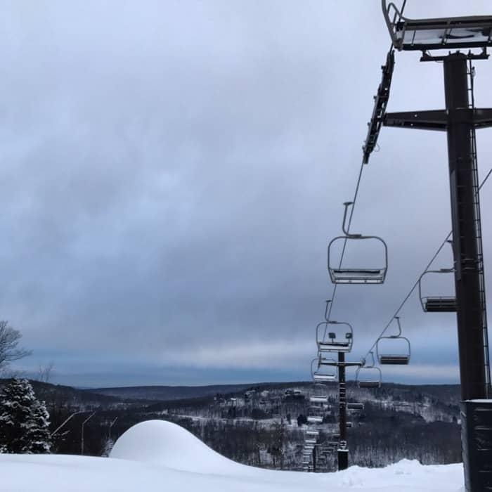 chair lift at ski resort in Laurel Highlands PA