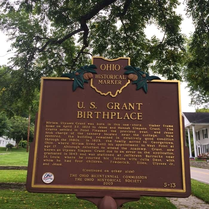 historical marker for the Birthplace of U.S. President Ulysses S. Grant in Ohio
