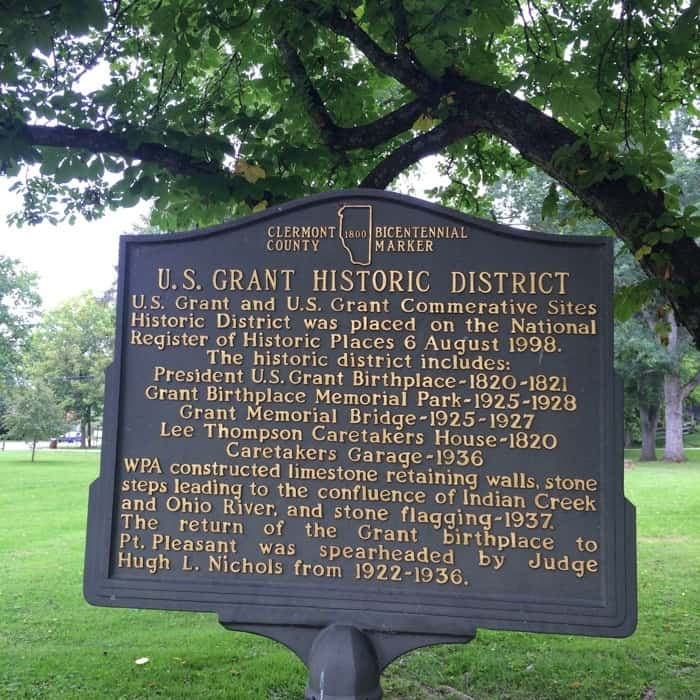 historical marker for the U.S. Grant Historic District