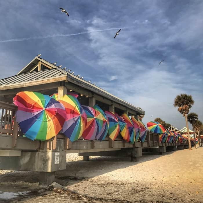 Beach umbrellas at Pier 60 in Clearwater, FL