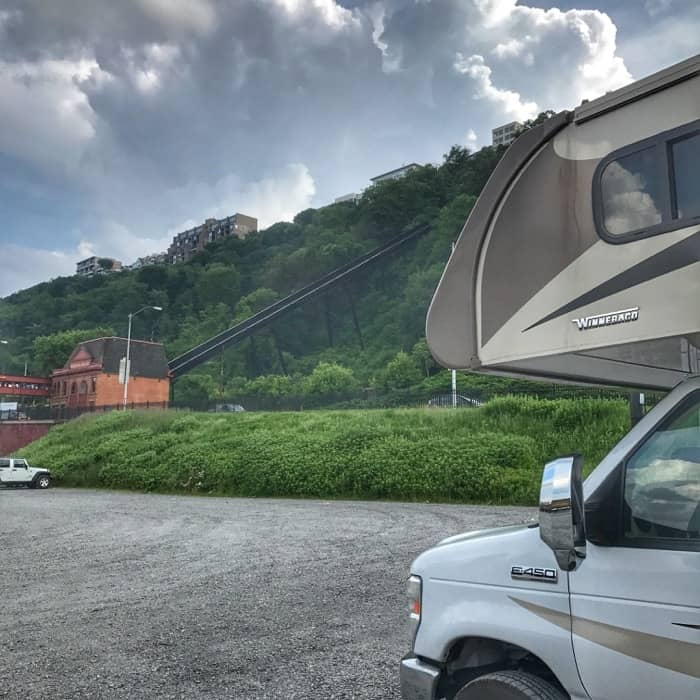 RV parked at Duquesne Incline in Pittsburgh