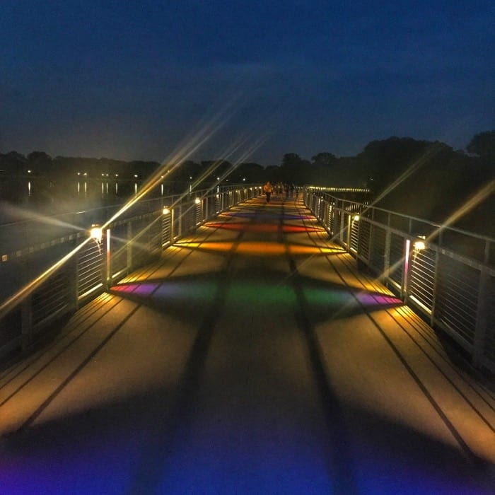 colorful bridge at Gray's Lake at Night in Des Moines Iowa