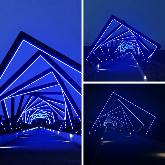 colorful High Trestle Trail Bridge at night