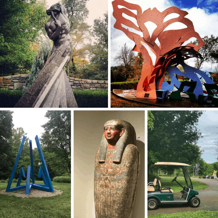 outdoor sculptures at Pyramid Hill Sculpture Park in Hamilton Ohio