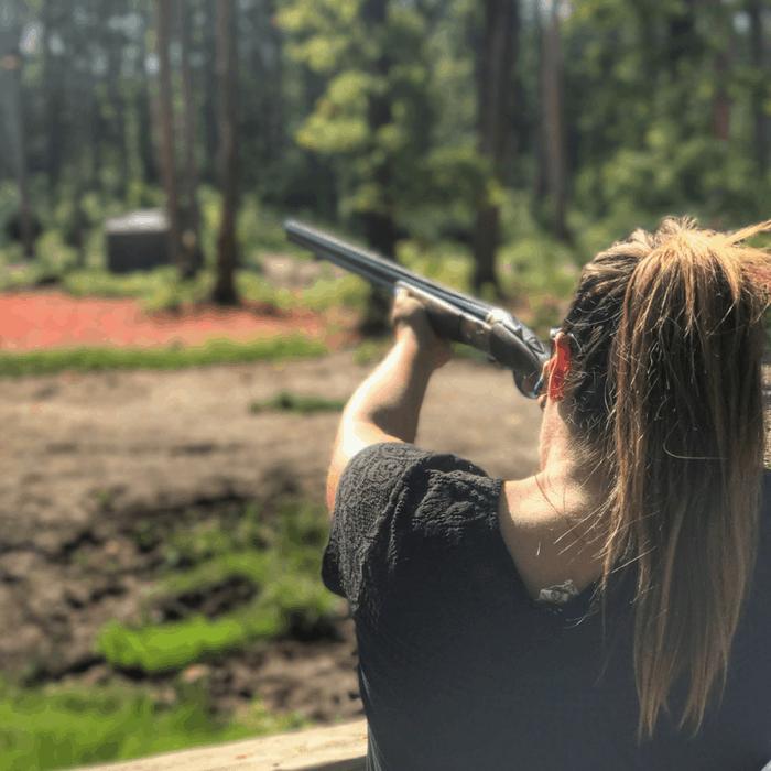shooting clay pigeons at Seven Springs Resort
