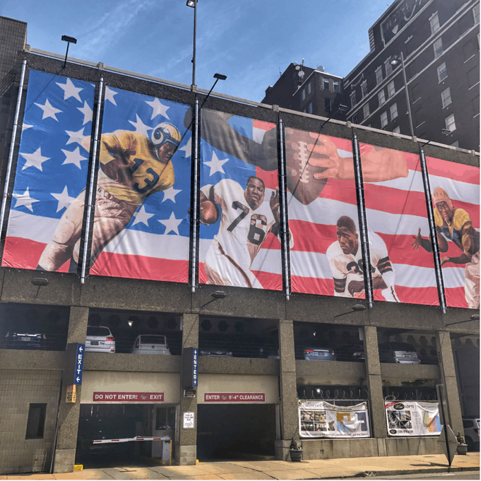 The Reintegration of Pro Football l mural in downtown Canton