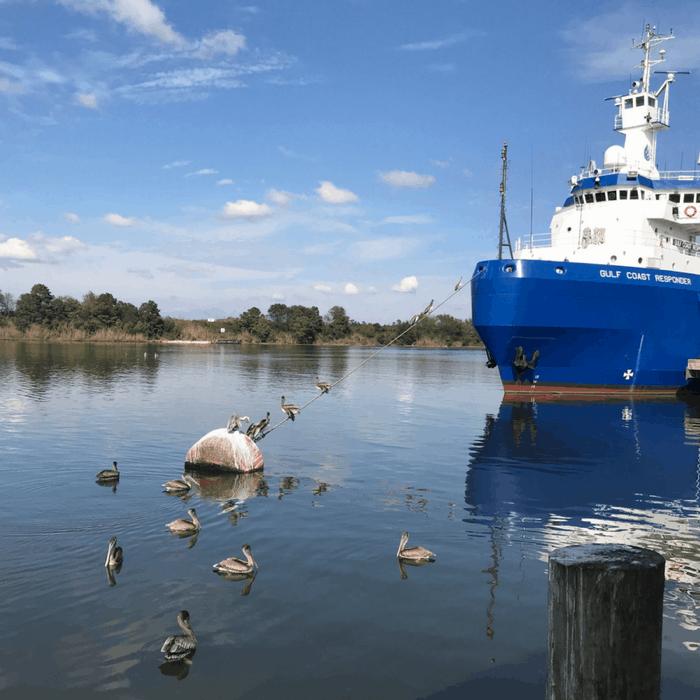 tug boat in the water in Lake Charles