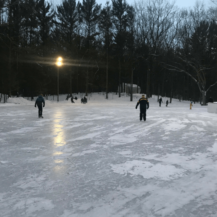 giant outdoor ice skating rink in Muskegon Michigan