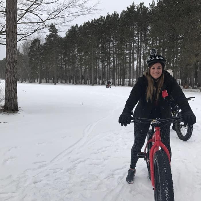 Adventure Mom Nedra McDaniel on a fat tire bike in the snow