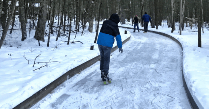 Ice skating trail in woods in Muskegon Michigan