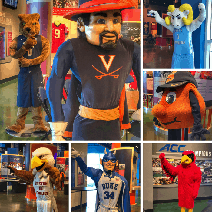 team mascots at the ACC Hall of Champions in Greensboro