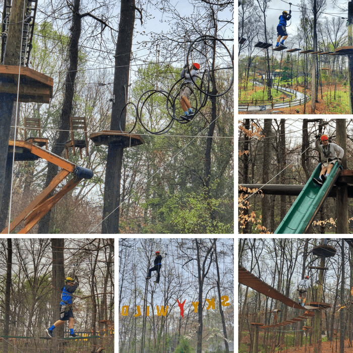 high ropes course at SKYWILD Treetop Adventure Park in Greensboro NC