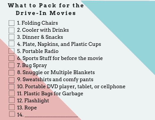 Drive in Movie Packing List