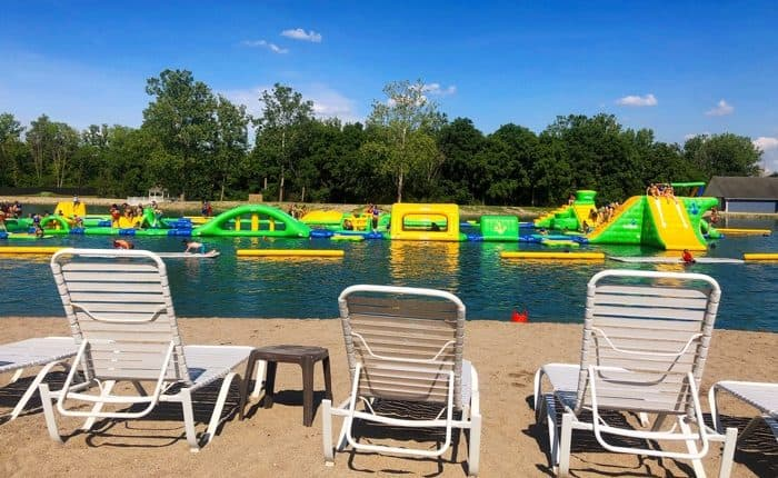 inflatable obstacle course at Aqua Adventures at Land of Illusions