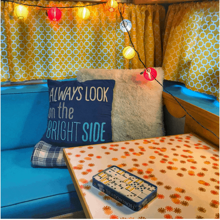 inside vintage Winnebago from Route Fifty Campers