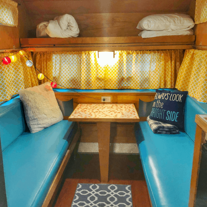 inside a vintage Winnebago rental from Route Fifty Campers