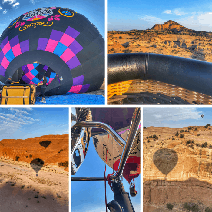 hot air balloon ride at Red Rock Canyon in New Mexico