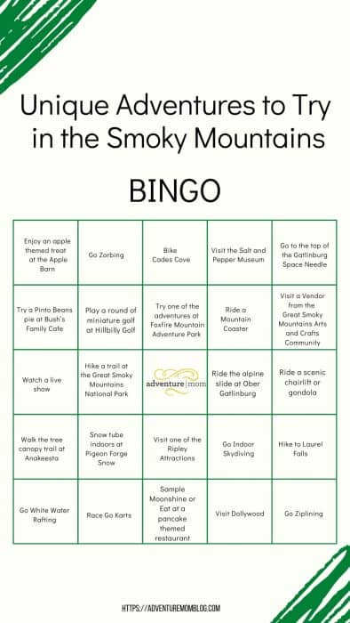 Unique Adventures to Try in the Smoky Mountains BINGO