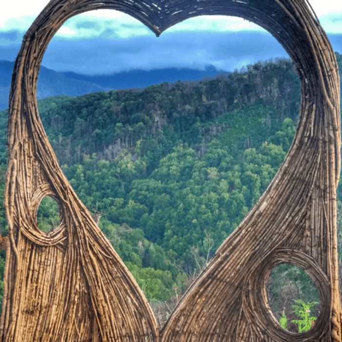 Heart-shaped Twig Photo Op in Anakeesta Gatlinburg, TN