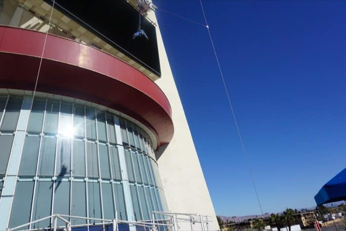 person on the SkyJump at the Stratosphere Las Vegas