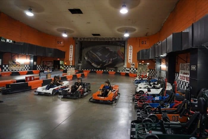 indoor go karts at Cooter's Place in Gatlinburg