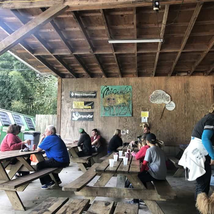 picnic table at Miguels Pizza Red River Gorge