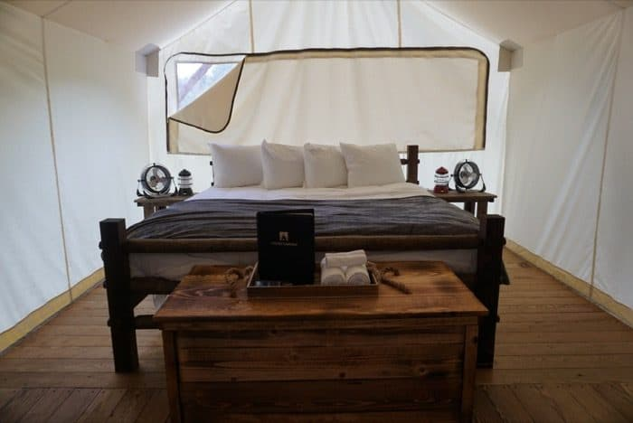 glamping-under-canvas-bed