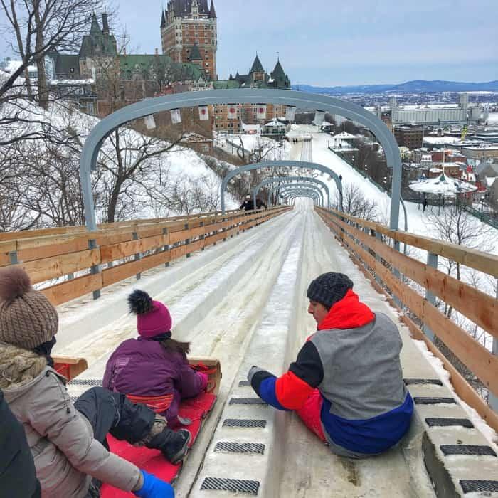 Toboggan Slide Au 1884 in Old Quebec City in Canada