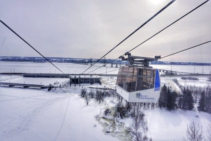 cable car at Montmorency Falls in Canada