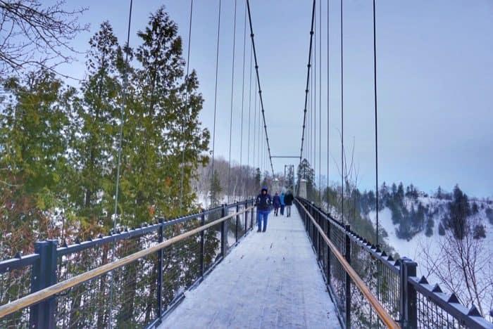 bridge at the top of Montmorency Falls in Canada