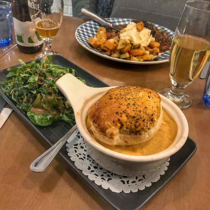 meal at  Le cochon dingue in Quebec