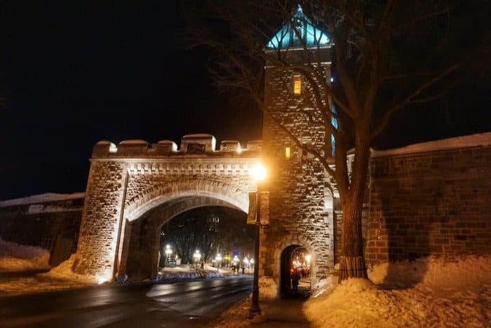 Old Quebec City gate at night