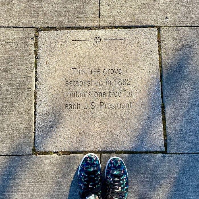 marker for the Presidential Grove in Eden Park Cincinnati