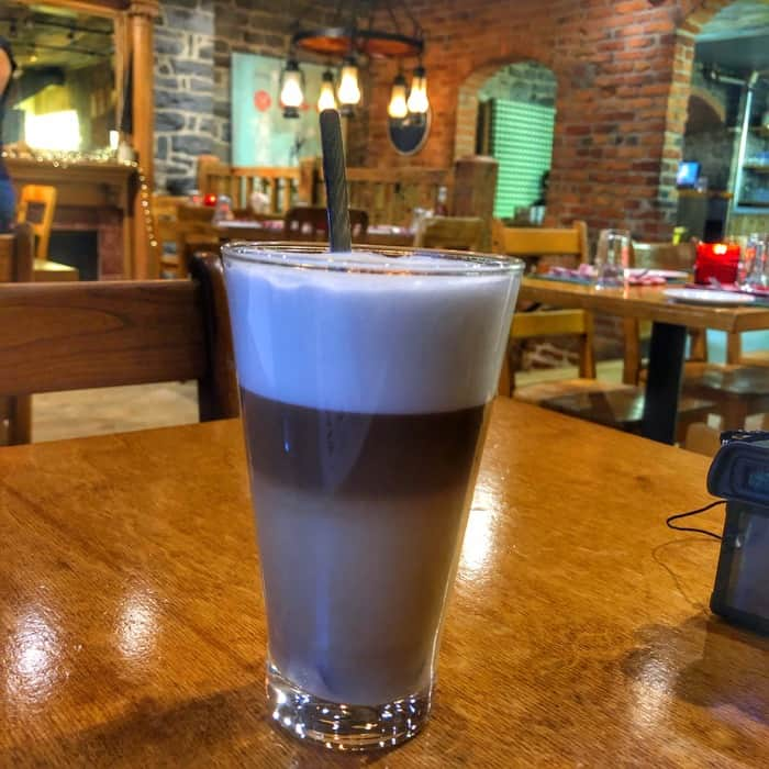 coffee with whiskey at La Buche restaurant in Quebec City