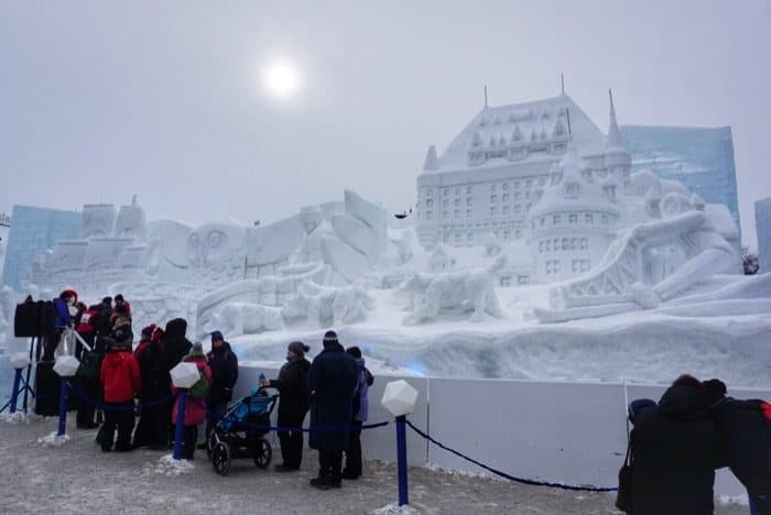 giant snow sculpture at Winter Carnival in Quebec City