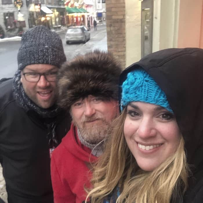 couple with their Walking Tour Guide in Quebec City