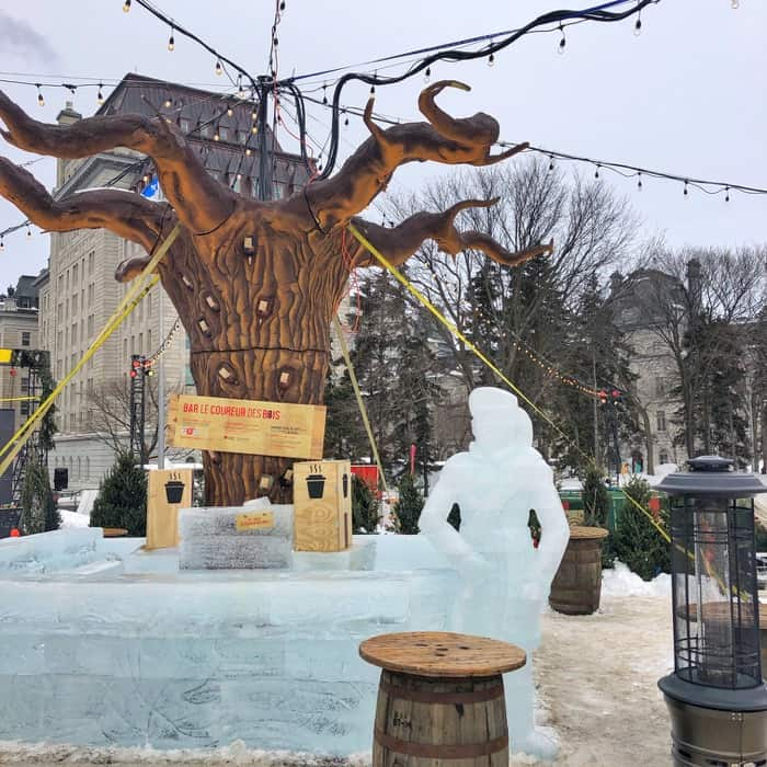 ice bar daytime at the winter carnival