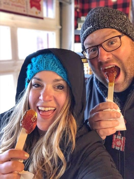 Maple taffy in Old Quebec City