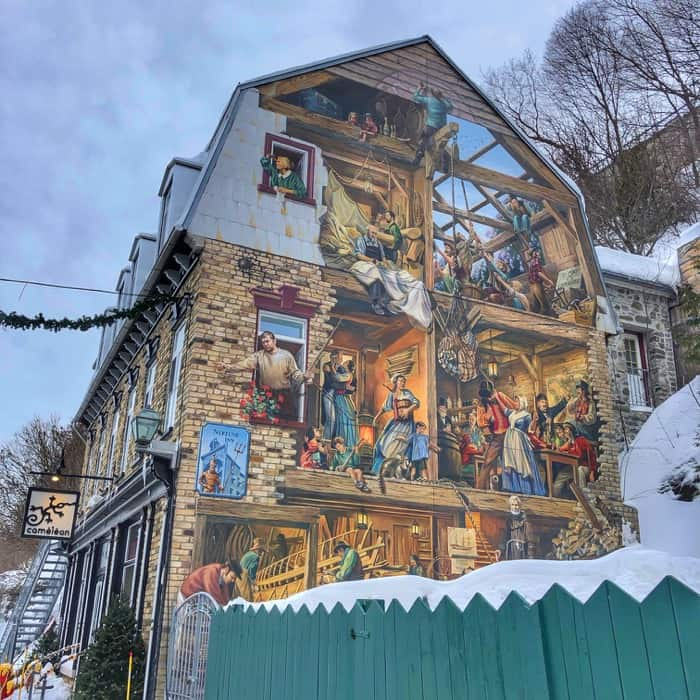 murals in Old Quebec City
