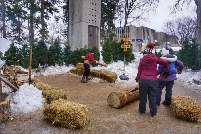 rolling logs at the winter carnival