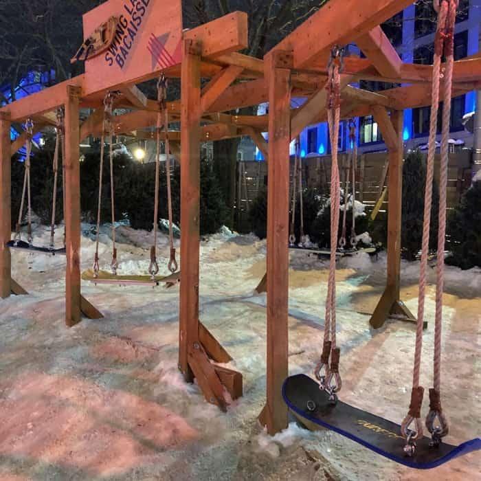 snowboard swing at winter carnival