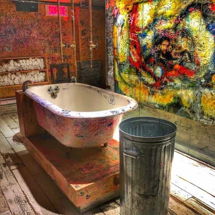 bathroom at La Buche restaurant in Quebec City
